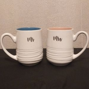 Sheffield Home Coffee Cups - Mr & Mrs Blue & Pink
